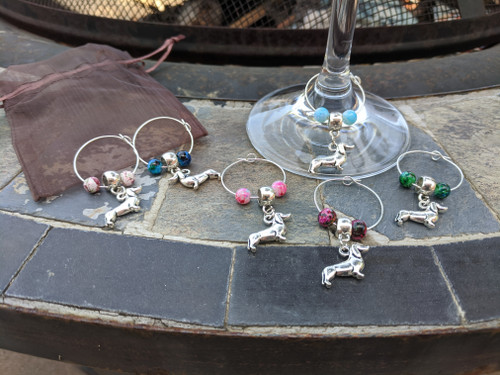 Dachshund Beaded Wine Glass Charms