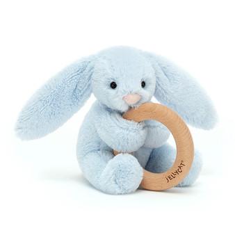 Jellycat Bashful Blue Bunny Wooden Ring Toy