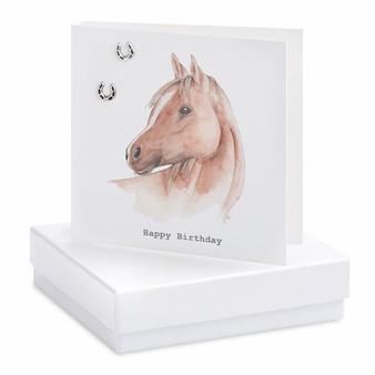 Boxed Horse Birthday Earring Card