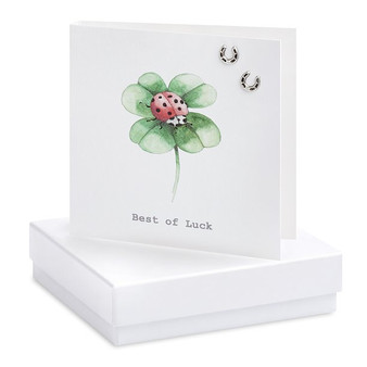 Boxed Four Leaf Clover Earring Card