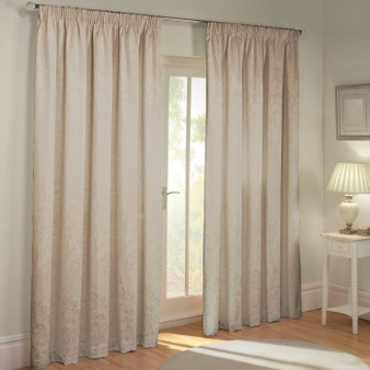 Julian Charles Paisley Natural Luxury Jacquard Lined Pencil Pleat Curtains (Pair)