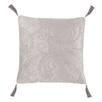 Paisley Silver Luxury Jacquard Filled Square Cushion