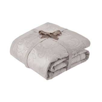 Paisley Silver Luxury Jacquard Quilted Throw