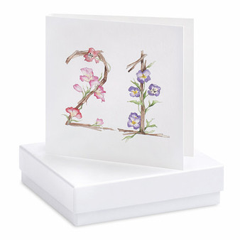 Boxed Floral 21st Earring Card