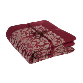 Gosford Red Damask Jacquard Luxury Quilted Throw - 240cm x 160cm