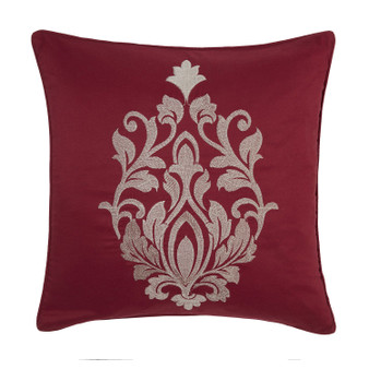 "Gosford Red Damask Jacquard Luxury Filled Square Cushion - 18"" X 18"""