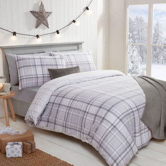 Grey Check Brushed Cotton Reversible Duvet Set