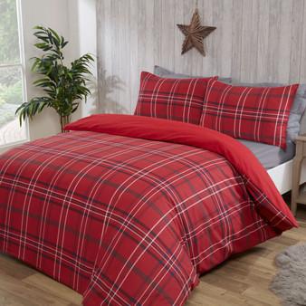 Julian Charles Nordic Red Check Brushed Cotton Duvet Set