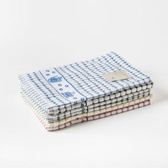 Tea Time Terry Tea Towels - Check with Jacquard Design - 50cm X 70cm