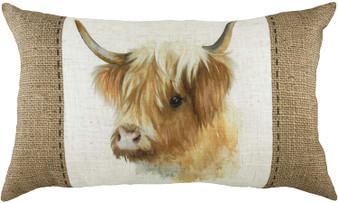 Evans Lichfield Hessian Highland Cow Filled Cushion