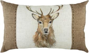 Evans Lichfield Hessian Boudoir Stag Filled Cushion