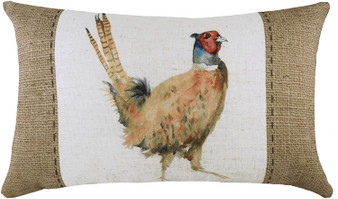 Evans Lichfield Hessian Pheasant Filled Cushion