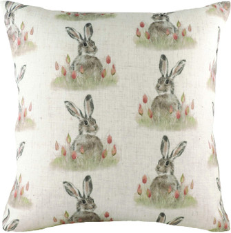 Evans Lichfield Hessian Hedgerow Hare Repeat Filled Square Cushion