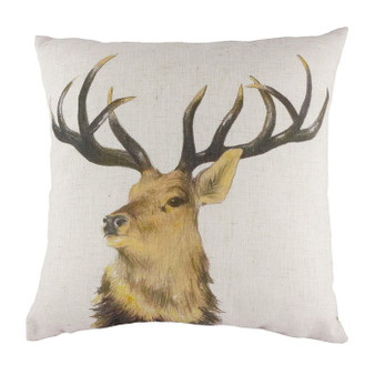 Evans Lichfield Hessian Stag Head Repeat Filled Square Cushion