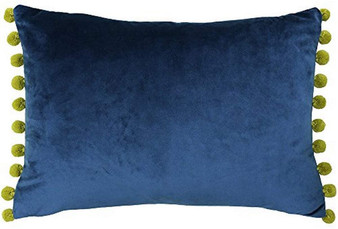 Paoletti Fiesta Rectangular Filled Cushion with Pompom Edges - Indigo/Olive