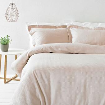 The Linen Yard Waffle 100% Cotton Duvet Cover Set - Blush