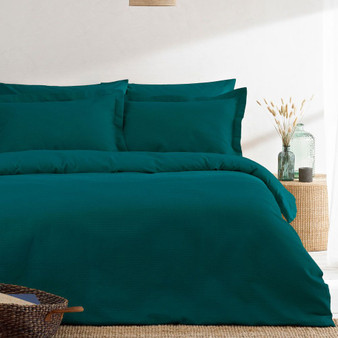 The Linen Yard Waffle 100% Cotton Duvet Cover Set - Teal