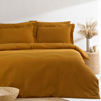The Linen Yard Waffle 100% Cotton Duvet Cover Set - Ginger