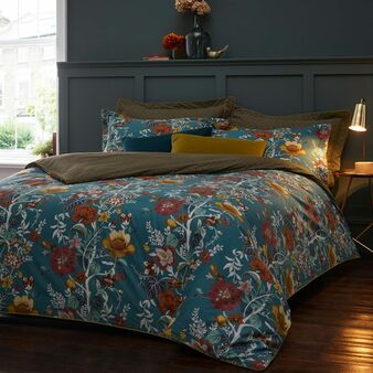 Paoletti Bloom Floral Print 100% Cotton 200 Thread Count Duvet Cover Set