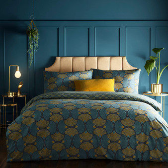 Furn Decora Art-Deco Reversible Duvet Cover Set - Teal & Gold