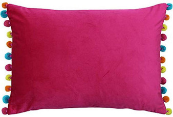 Paoletti Fiesta Rectangular Filled Cushion with Pompom Edges - Hot Pink/Multi