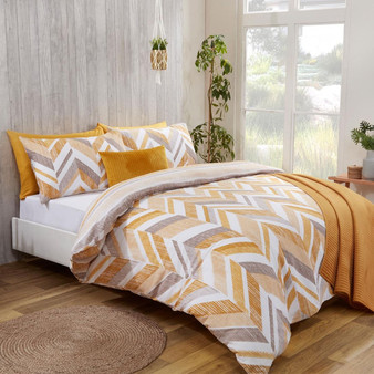 Connor Geo Print Ochre Reversible Duvet Set