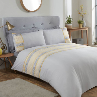 Grey & Ochre Ellis Geo Panel Duvet Set