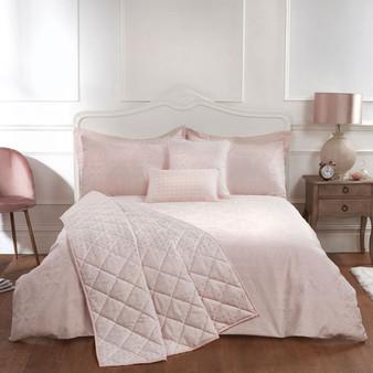 Ornate Cotton Rich Jacquard Pink Duvet Cover