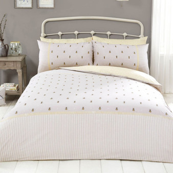 Honey Bee Cotton Rich Reversible Duvet Set