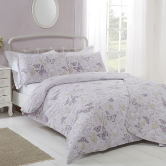 Mollie Lilac Cotton Rich Reversible Duvet Set