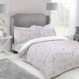 Jessica Blush Cotton Rich 180 Thread Count Reversible Duvet Set