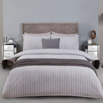 Herringbone Brushed Cotton Duvet Set - Grey