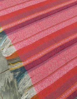 Large Riva Paoletti Throw / Blanket - Pink, Orange, Cream & Blue