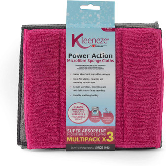 Pack of 3 Kleeneze Microfibre Sponge Cloths
