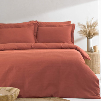 The Linen Yard Waffle Duvet Cover Set, Red Clay