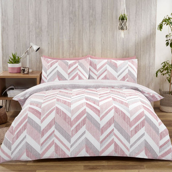 Connor Geo Print Blush Reversible Duvet Set