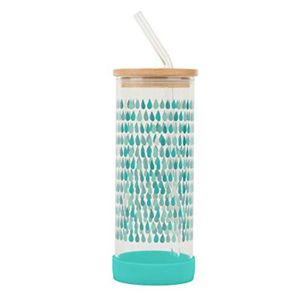 Cambridge Reusable Glass Water Bottle with Straw – Water Droplet Pattern