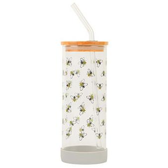 Cambridge Reusable Glass Water Bottle with Straw – Busy Bee