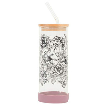 Cambridge Reusable Glass Water Bottle with Straw – Floral Trail