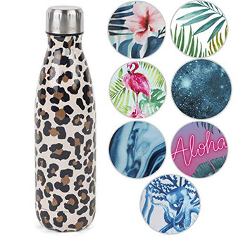 Cambridge CM06513 Watercolour Leopard Thermal Insulated Flask Bottle, 500 ml, Stainless Steel | Keep Drinks Cold Up to 24, Hot for Up to 6 Hours