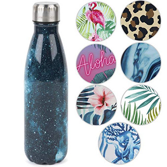Cambridge CM06515 Cosmos Print Thermal Insulated Flask Bottle, 500 ml, Stainless Steel | Keep Drinks Cold Up to 24, Hot for Up to 6 Hours