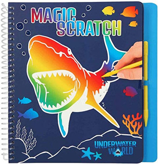 Depesche 11079 Colouring Magic Scratch Book, Dino World Underwater, Approx. 20 x 19.3 x 2 cm