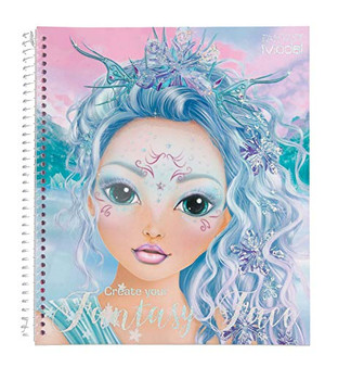 Depesche 11240 Colouring Book, Create Your Fantasy face, Approx. 24 x 21.8 x 1.8 cm, 40 Pages, 3 Stencils and 1 Sheet of Stickers, 0, STK
