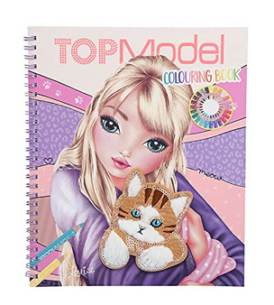 Depesche 11450 TOPModel Colouring Book 40 Motifs Sticker Sheet, Cat Appliqué with Fur and Sequins on The Cover