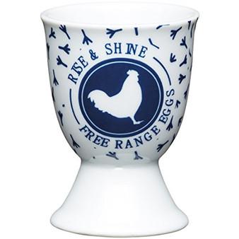 Kitchen Craft Traditional Hen Design Egg Cup, Porcelain, Blue, 9 x 12 x 16 cm