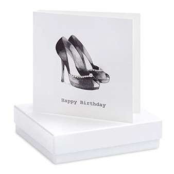 Crumble & Core - Earrings on a gift Card - Black Heels Happy Birthday - CE066