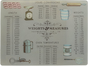 Creative Tops 'Weights & Measures' Glass Worktop Saver / Surface Protector (40cm X 30cm)