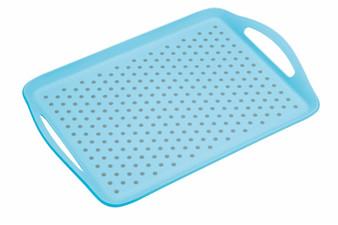 Kitchenkraft Colourworks Non-slip Plastic Serving Tray - Aqua Blue (41cm X 28.5cm)