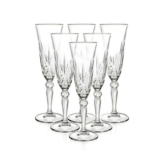 Set of 6 RCR Melodia Crystal Champagne Flutes
