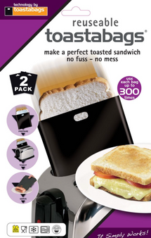Toastabags Black Reusable Toaster Bags - 2 pack - re-use 300 times